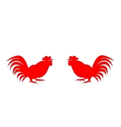 Red silhouettes of roosters on a white background vector