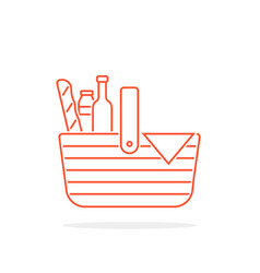 Red thin line basket icon for picnic vector