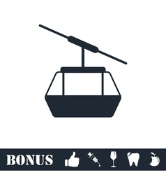 Ropeway cabines icon flat vector image vector image