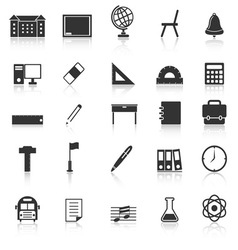 School icons with reflect on white background vector image vector image