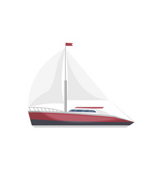 Sea sail yacht side view isolated icon vector