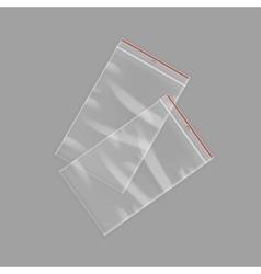 Sealed empty transparent plastic zipper bags vector