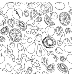 Seamless pattern with fruits and berries Black vector image