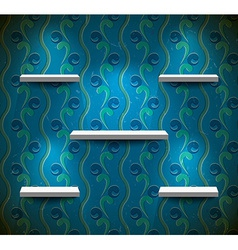 Shelves on the grungy blue wall vector image vector image