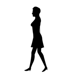 Silhouette woman with dress walking vector