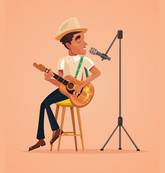 singer man character sing song and play guitar vector image vector image