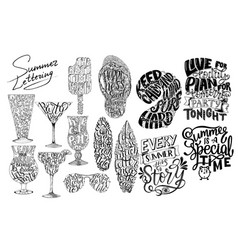 summer lettering set brush lettering composition vector image vector image