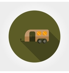 Travel trailer flat icon vector
