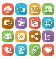 Trendy flat social network icon set vector image