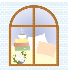 View window flower coffee cup romantic book vector