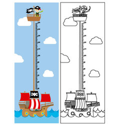 Pirate ship meter wall vector