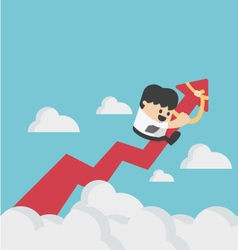 businessman on a red arrow pointing up to sky vector image