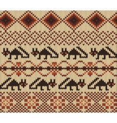 Knitted swatch in folk style with stylized foxes vector