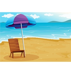 A beach with a relaxing wooden chair under an vector image