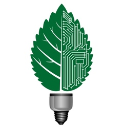 Light bulb with computer elements vector