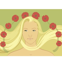 Blond girl with flying hair vector