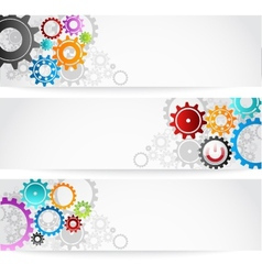 Set of gears banner for business commerce vector