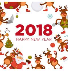 2018 cartoon santa and deer poster or greeting vector