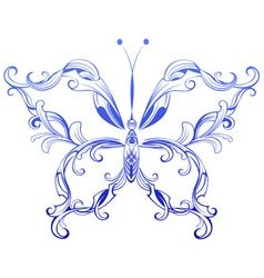 blue patterned butterfly vector image