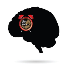 Brain with clock time for coffee vector