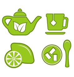 Green tea set vector