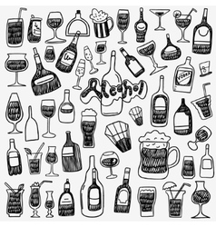 Alcohol bottles doodles vector