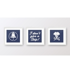 Realistic navy or marine picture frames set vector