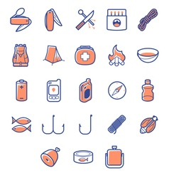Colored icon set for camp survivals vector