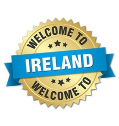 Ireland 3d gold badge with blue ribbon vector