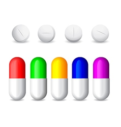 Icon of white tablets and colorful pills vector