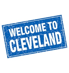 Cleveland blue square grunge welcome to stamp vector