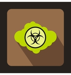 Green cloud with biohazard symbol icon flat style vector