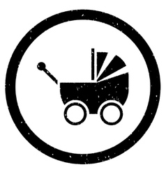 Baby carriage rounded grainy icon vector