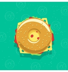 Bagel sandwich isolated vector image