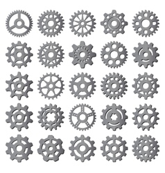 Black gear icons isolated vector image