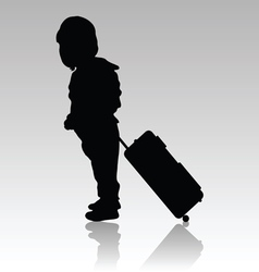 Child travel with bag silhouette vector