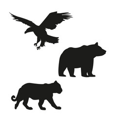 Eagle bear and tiger black silhouette vector