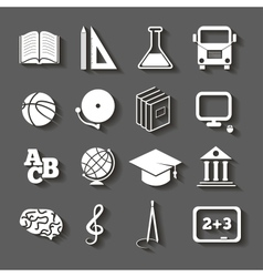 Education school icons with shadow on gray vector