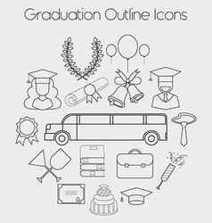 Graduation Celebrating Education Icon Set vector image vector image