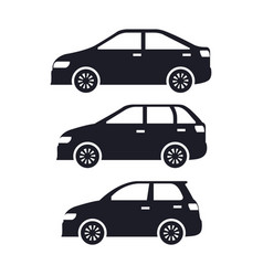 group of cars sedan icons vector image