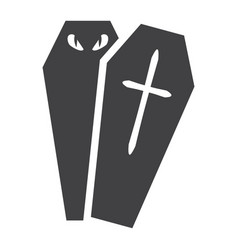 halloween coffin glyph icon halloween and scary vector image vector image