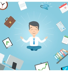 Happy businessman meditating in the office vector