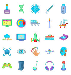 High tech industry icons set cartoon style vector