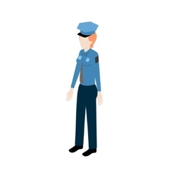 Isometric woman policeman vector
