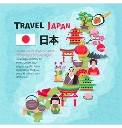 Japanese culture travel map background poster vector