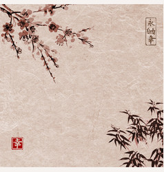 Oriental cherry blossoming and bamboo vector