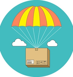 Package flying on parachute delivery service vector image