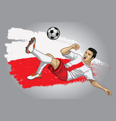 poland soccer player with flag as a background vector image vector image