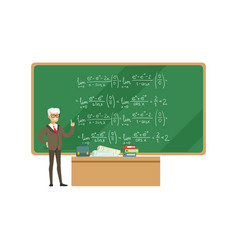 professor near the blackboard with formulas vector image vector image
