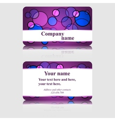 Purple business card with colorful circles vector image vector image